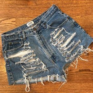 Pants - High Waisted Distressed Denim Shorts